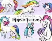 Watercolor Majestic Unicorns Clipart Set - INSTANT DOWNLOAD - High Res, PNG, Printable and Cute! For stationery, birthdays and baby showers