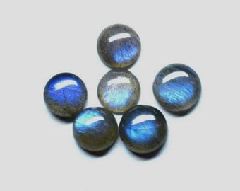 Natural Labradorite  AAA Quality Blue Flashy 8x8 mm Round Cabochon Loose Gemstones