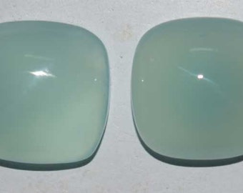 Natural Aqua chalcedony Gemstone Cabochon 1 pair 7x7 mm Cushion smooth cabochons with flat back Loose Gemstones calibrated pair of same size