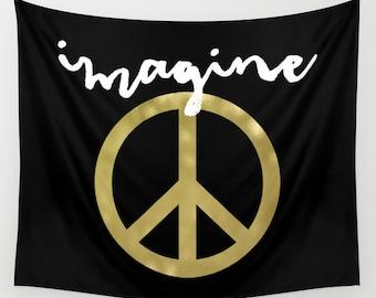 Peace Tapestry, Boho Tapestry, Peace Sign, Dorm Decor, Black Wall Tapestry, Black Wall Decor, Imagine John Lennon, Wall Hanging, Gold, Black