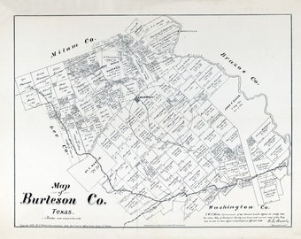 1879 Map of Burleson County Texas