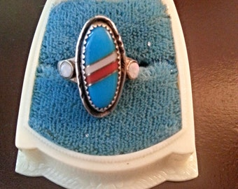 1960s Native Turquoise and Opal Signed Ring