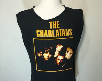 90's the charlatans sleeve less t shirt 1995 tour concert tee british rock