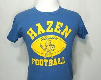 70's vintage hazen football 100% cotton t shirt size large