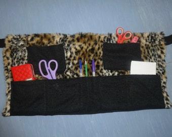 leopard fur craft apron