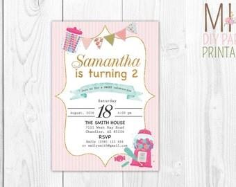 Glitter Candy Invite,Candyland Birthday Invitation, Candyland Invitation, Sweet Shop Invitation, Candy Invitation, Candyland Birthday