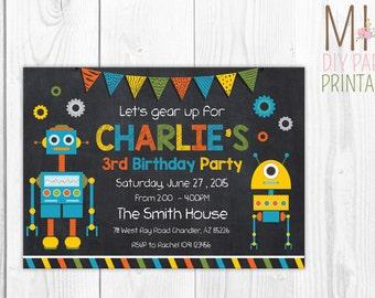 Fun Robot Birthday Invitation, Printable Birthday Invitation, DIY, Robot Party Decor, Robot Banner, Robot Party Set