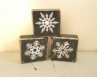 Rustic hand painted snowflake wood blocks, christmas decorations, holiday sign, stacking blocks