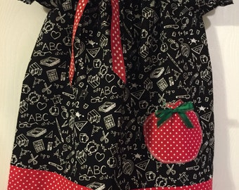 Back to school, chalkboard print, 3T girls dress