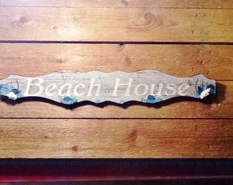 Beach House  Sign Sea Side Cabana Ocean Nautical Decor