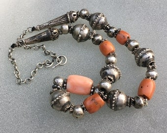 Yemeni coral and silver necklace