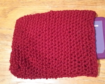 Purse,Pouch, Crocheted - Burgundy cell phone pouch Handmade - REDUCED