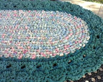 "Handmade 45"" Green Oval Crocheted Rag Rug"