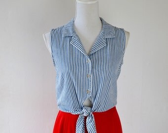 Denim Tie-Waist Tank Top     Striped Sleeveless Shirt with Tie Waist     Cropped Summer Blouse