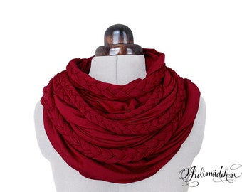 Zopfloop red / / Zopfschal / / braided scarf