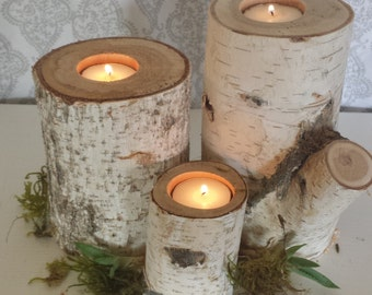 Set of 3 Birch Candle Holders, Succulent Planters, Home Decor.