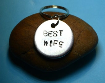 Wife gift,Keyring/necklace, Gift for wife, Anniversary gift, Gift for her Jewelry Personalized gift Handstamped keyrings Gifts for women