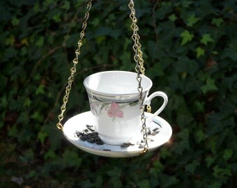 Tea Cup Bird Feeder with Iris