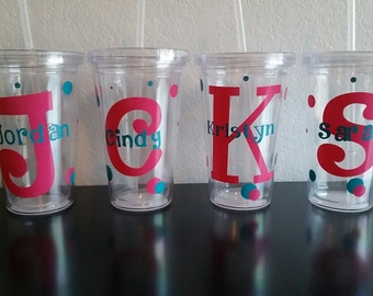 PERSONALIZED clear tumbler cups