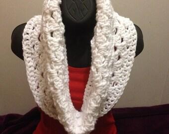 Chunky White Crochet Infinity Scarf