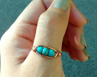 Turquoise stone pea pod Copper Wire Ring Gypsy bohemian Jewelry