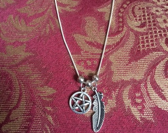 Feather & Pentacle Charm Necklace