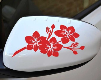 Orchid Flower Car Stickers, Wing Mirror Graphic Decals x 2