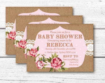 Shabby Chic Baby Shower Invitation Printable Download Baby Girl Pink DESIGN 004