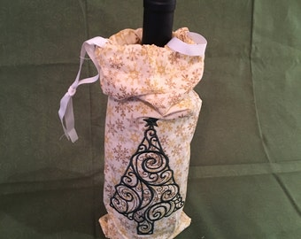 Wine Bag Christmas Tree made from Fabric, Customize with Name, Date, or Event Details