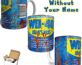 WD40 Inspired Rusty Can Personalised Printed Ceramic Mug Your Name