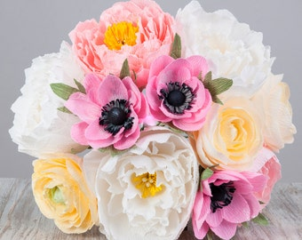 Alternative  bridal  bouquet  with peonies, anemones, ranunculuses. Paper flowers
