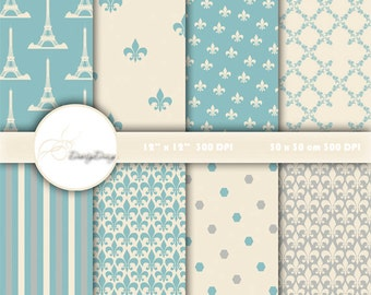 SALE Blue DAMASK digital paper: PARIS digital paper pack with soft vintage blue and cream damask backgrounds and classical patterns 380
