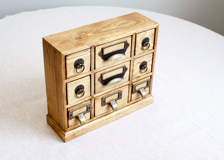 Chest of drawers desk organizer jewelry box 9 drawer wooden - Desk organizer drawers ...