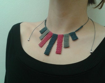 blue pink and grey macrame necklace