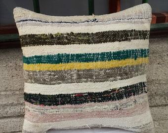 pillow cover,kilim pillow,trendy pillow,decorative pillow,turkish sofa pillow 40x 40 cm ( '16x'16 inc) (152)