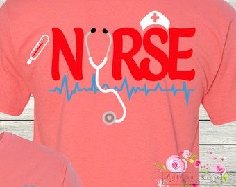 Monogrammed Nurse TShirt RN LPN Nursing Medical Personalized Customized Shirt ER icu