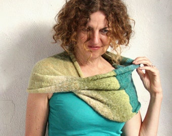 Knitted neck warmer / Shoulder wrap / Mohair shawl wrap / Knitted blanket throw scarves / Circle scarves / Boho fall scarf - Fernwood