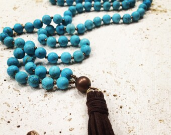 Raw turquoise tassel necklace,turquoise tassel necklace,turquoise necklace,tassel turquoise necklace,mala jasper tassel necklace,stone tasse