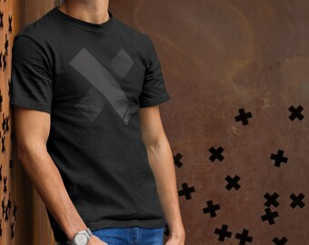 Printed mens designer t-shirt with black on black print and positive message