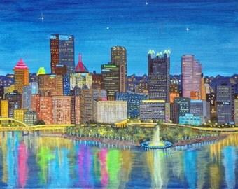 Original 11 X 14 acrylic painting Pittsburgh skyline!