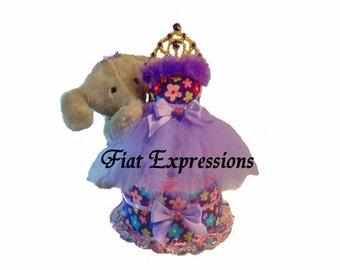 Princess  Garden Purple Tutu Diaper Cake