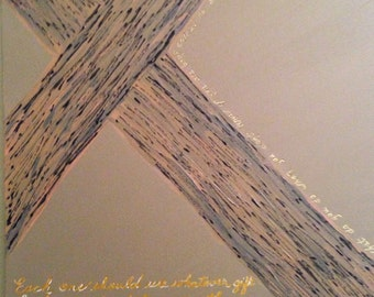 Painting - Handmade 1st Peter 4:10 Cross Painting in acrylic 16x20 FREE SHIPPING!