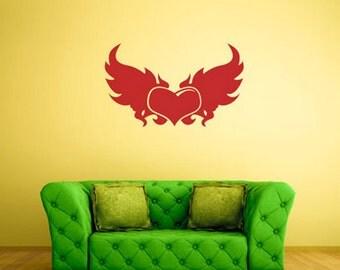 rvz226 Wall Sticker Heart Fly Wings Bedroom Decal