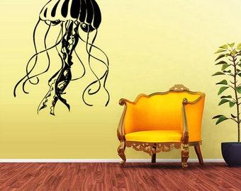 rvz1581 Wall Vinyl Sticker Decals Decor Jellyfish Deep Sea Ocean Scuba Tentacles