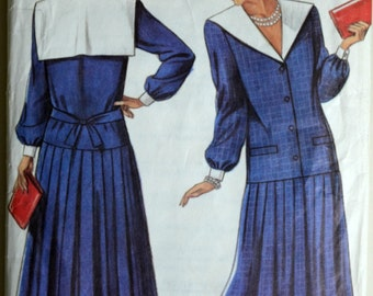 Uncut 1980s New Look Vintage Sewing Pattern 6372, Sizes 8-18