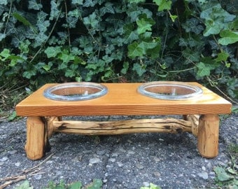Wooden Cat Bowl Stand - Western Red Cedar