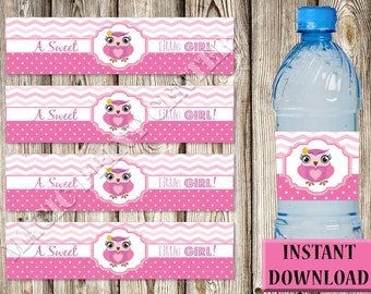 Water Bottle Labels-Baby Shower-PDF and JPG-Instant Download-DIY-Printable-Pink Owl-A Sweet Little Girl!