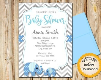 "Baby Shower Invitation, Boy, INSTANT download, EDITABLE in Adobe Reader, DIY,Printable,Blue White Gray, Elephant, 5""x7"""