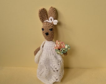 Crochet bunny rabbit, amigurumi doll, soft toy, rabbit in a dress