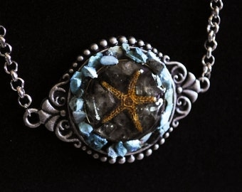 Resin Starfish Adorned with Raw Turquoise Pendant Necklace